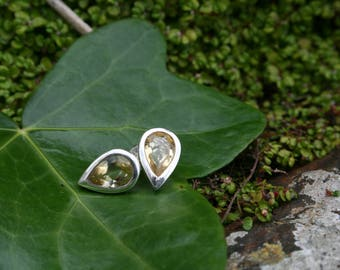 Lemon Quartz Teardrop Stud Earrings, Sterling Silver