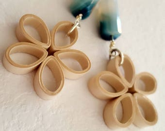 Paper flower drop earrings and green agate