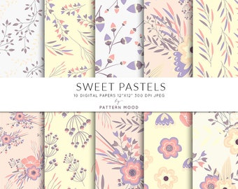 Sweet Pastels Floral Digital Paper, Pattern, Digital Wedding Paper, Background Flowers, Modern Decor Paper Invitation