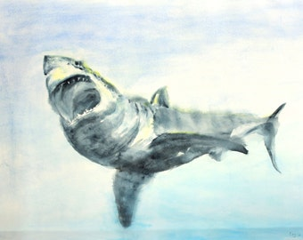 great white shark,original shark painting, shark art,fish art,shark wall art
