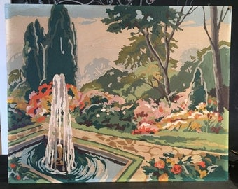 Vintage Paint by Numbers Fountain Scene