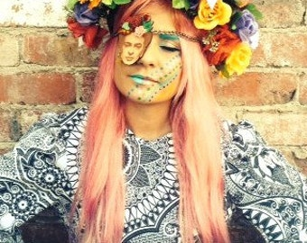colourful festival floral Crown, Summer Festival Floral Crown, headdress, head piece, festival