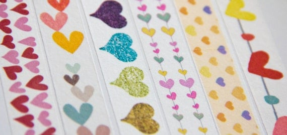 WASHI PRE-ORDER: 1 Roll of Heart Valentine Themed Washi Tape (Japanese Tape, Decorative Adhesive, Decorative Tape)