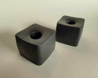 Hand Forged Square Candle Holder - Pair