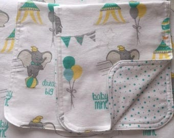 Dumbo Reversible Baby Blanket & Burp Cloth Set