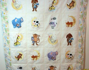 "Machine Embroidered Baby Quilt, Crib Quilt, Baby Quilt, Handmade Baby Quilt - Little Dreamers - approx 38"" x 46"""