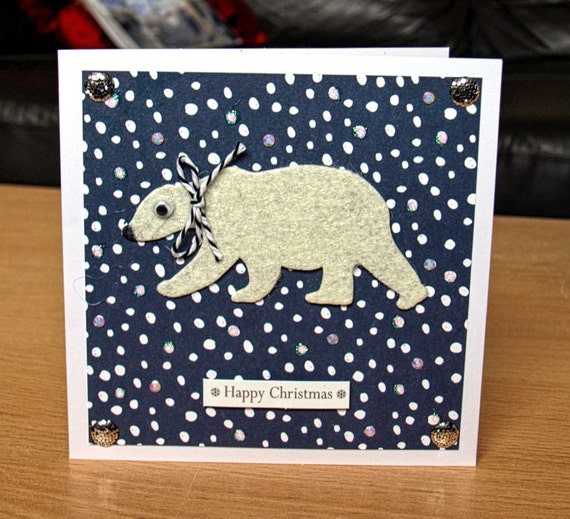Polar Bear Christmas Card Handmade - luxury personalised unique quality special UK