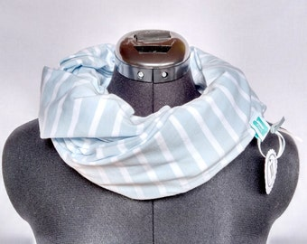 Jersey Loop Scarf Stripes Blue-White