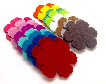 Felt Flower Die Cuts, Beautiful and Colourful Flower Shapes for Sewing and Craft Projects in Vibrant Colours, Pack of 10