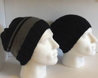 Black Knitted Beanie Hats for Men, Mens Slouch Hats, Unisex Slouchy Hat, Winter Wool Hat, Beanie Hat Hand Knitted, Boyfriend Casual  Wear