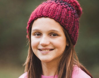 Cranberry and Black Puff Stitch Beanie--Adult