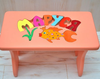 Step stool with name, Personalized wooden step stool, Kids bench with name, Wood kids kitchen furniture, Bathroom children's step stools