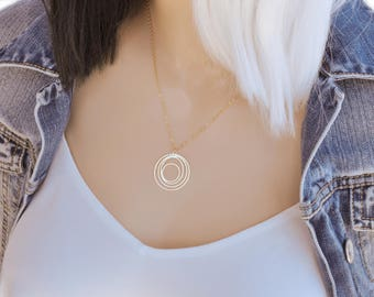 Circle Necklace, Delicate Circle Necklace, Geometric Circle Necklace, Dainty circle necklace, Karma necklace, Minimalist necklace