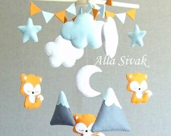 Baby Mobile, Fox woodland mobile, Mountain & Fox mobile, Fox Nursery, Fox Mobile, Fox Baby Mobile, Foxes Crib Mobile, Orange and grey fox