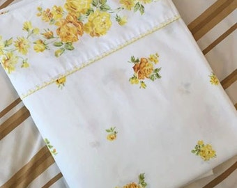 Vintage Yellow Roses Fashion Manor Penn Prest Double Flat sheet JC Penney