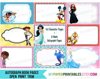 Disney Autograph Book Printable DIY INSTANT DOWNLOAD Disney World, Disneyland or Disney Cruise! Disney Signature Pages Princess Autograph