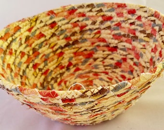 Coiled Fabric Basket Large Catchall Fabric Wrap Clothesline Bowl Yellow Orange 8""