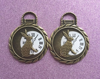 2 large Tibetan Style Antique Bronze Clock face charms with rabbit