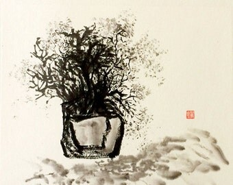Modern Black Ink Painting On White Rice Paper Ink and Wash Painting Ink art Asian Painting-Bonsai Painting