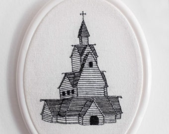 Church Embroidery Graveyard Stave Church Wooden Church - MADE TO ORDER