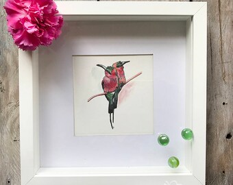 Watercolor Pink-Green Bird Couple Art.
