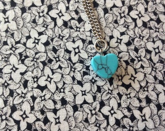 Vintage Heart Necklace with Turquoise Heart