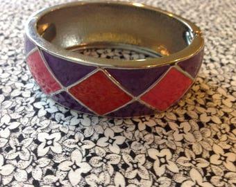 Vintage Enamel Bracelet, Silver Toned, Hinged