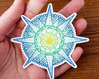 Ocean sun mandala vinyl sticker waterproof indoor outdoors