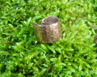 Hammered Copper Cigar Band Ring, Blacksmith Made Archaeology Inspired