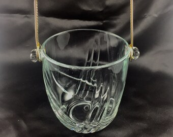 Crystal Ice bucket Made in Italy.Brass handle, Mid-century barware