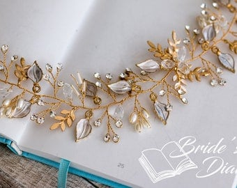 Pearls Bridal Wreath, bohemian headband, wedding gold hair vine with golden leaves