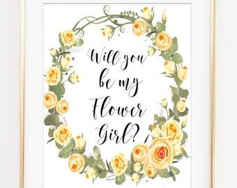 Will you be my Flower Girl, Flower girl invite, wedding invitation, flower girl card, flowergirl printable, print flower girl, cream roses