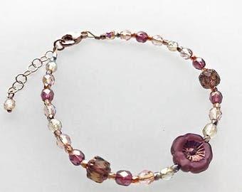 Sweet Pansy Brilliant Lights Glass Bracelet in 14K Rose Gold Filled