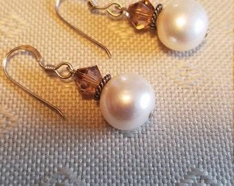 Beige, cream, brown, fresh water pearl, Swarovski, sterling silver  earring.