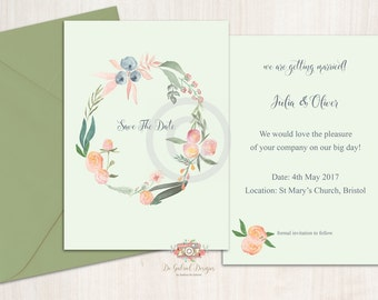 Printable 7x5 Inches Save The Date Postcard Template Watercolour Wreath Flowers Theme - Customisable Ready to Print