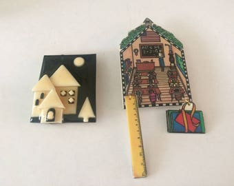 Two Vintage Pins House Pin by ZLucinda and The Wendelline - Free Shipping