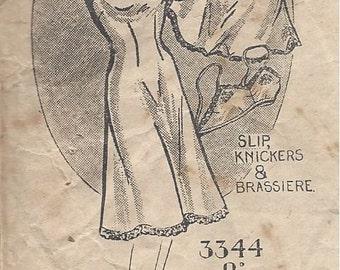 "1940s Vintage Sewing Pattern SLIP-BRA-KNICKERS B36"" (R635) Maudella 3344"