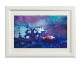 Giclée Print, Abstract Ink Painting with Deep Blue, Turquoise, Rose, Magenta and Violet
