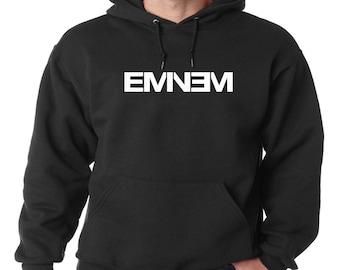 Eminem Logo Hoodie Classic Vintage Style Hip Hop Fleece Sweatshirt Eminem Slim Shady Detroit Music Dirty Dozen Rap God D-Twizzy New