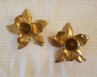 Vintage Brass Flower Candle Holders, Pair
