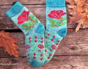 Hand knit Socks, Wool Socks, Knitted Socks, Bright Socks, Adult Socks, Blue Socks, Roses Design Socks, Handmade, Winter Socks