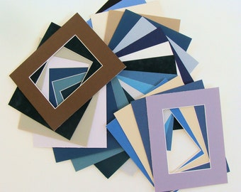 """Lot of Mats for 7"""" x 9"""" Frames 22 Matboards with Openings of 3 7/8"""" x 5 7/8"""" Variety of Colors, Archival Quality Acid & Lignin Free"""