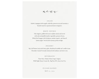 Melia: Printable 5X7 Wedding Menu Template, Calligraphy Wedding Menu, Minimalist Menu, Dinner Party, Simply Editable PDF Instant Download