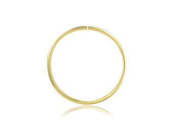 14K Solid Yellow Gold Nose Hoop Ring 20g 8-10mm - Round Septum Lip Ear Cartilage Tragus Body Piercing Jewelry