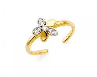 14K Solid Yellow White Gold Cubic Zirconia Flower Toe Ring Adjustable - Band