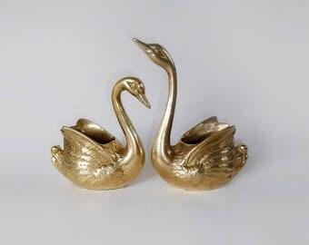 Vintage swans, brass swan planters, brass swan figurine, swan figurine, swan statuette, mid century swan, retro decor, vintage swan figurine