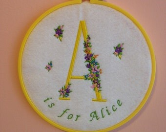 Custom Embroidery Hoop Art, Embroidered Name Nursery, Floral Monogram, Personalized art, Baby name wall art, Kids room decor, Wall Hanging