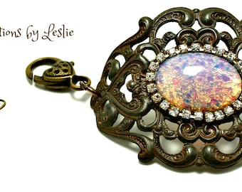 Vintage Inspired Opal Rusty Brown Bracelet and Earrings