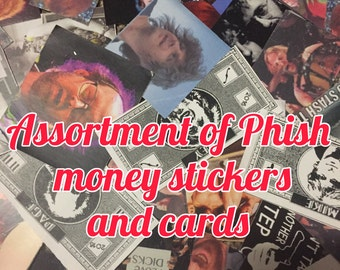 Phish stickers, cards, and money