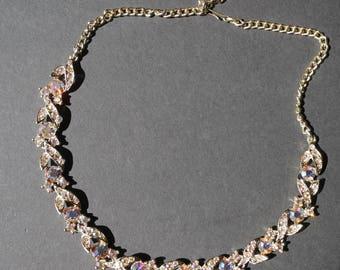 Sparkly aurora borealis rhinestone gold tone adjustable necklace
